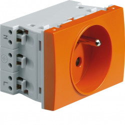 Systo prise de courant spécial goulotte 2P+T 16A 250V 2 modules Orange (WS121E) - HAGER
