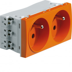 Systo prise de courant double spécial goulotte 2P+T 16A 250V 4 modules Orange (WS122E) - HAGER