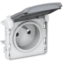 Prise de courant 2P+T avec éclips de protection Plexo composable IP55 16A 250V gris (069551) - LEGRAND
