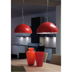 Suspension MOONFACE Argent+ROOD 3xE27 40W - VERDACE
