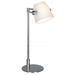 Lampe Bureau PRESTIGE NIKKEL-MAT + GLAS WIT H50