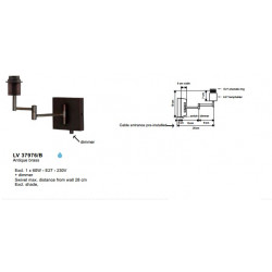 Applique .SUITE 1XE27-60W Brun+DIMMER - VERDACE
