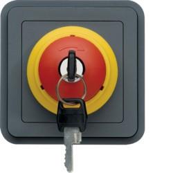 cubyko Arrêt d'urgence avec clé assoc. gris (WNA032) - HAGER
