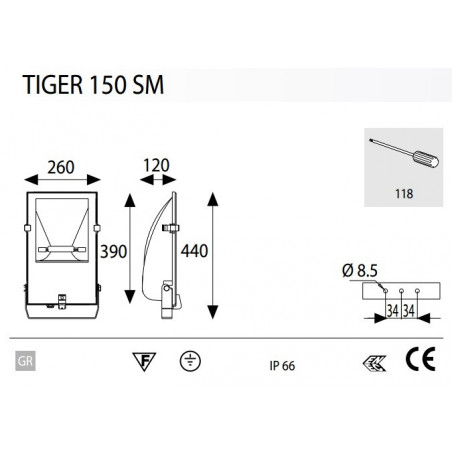 Projecteur Exterieur 150W Tiger Asymetrique - LIGHTING