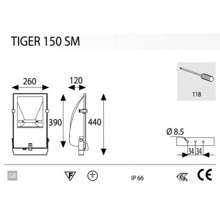 Projecteur Exterieur 150W Tiger Symètrique - LIGHTING