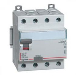 Interrupteur différentiel dx3-id - vis/vis - 4p- 400v~-63a - type a - 30ma - départ bas (411676) - LEGRAND
