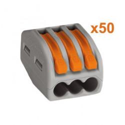 Lot de 50 bornes Wago 3x0.08-4 mm, fil souple ou rigide - WAGO