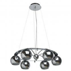 Suspension circulaire en métal brillant 6x60W - MW-HANDEL
