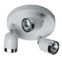 Plafonnier trois spots 35W orientables sur socle de métal blanc chromé - MW-HANDEL