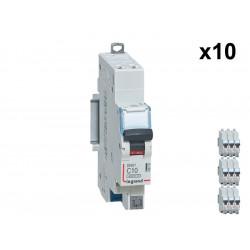 Lot de 10 Disjoncteurs DNX3 4500 - auto/auto - U+N 230V 10A - 4,5kA - courbe C - 1 mod (406782) - LEGRAND