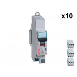 Lot de 10 Disjoncteurs DNX3 4500 - auto/auto - U+N 230V~ 16A - 4,5kA - courbe C - 1 mod (406783) - LEGRAND