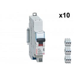 Lot de 10 Disjoncteurs DNX3 4500 - auto/auto - U+N 230V~ 20A - 4,5kA - courbe C - 1 mod (406784) - LEGRAND