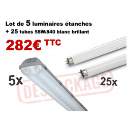 Pack 5 luminaires étanches + 25 tubes 58W - LIGHTING