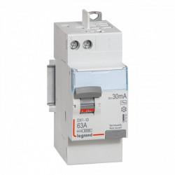 Interrupteur différentiel DX3-ID arrivée haut à vis et départ haut automatique - 2P 230V~ 63A typeAC 30mA - 2 modules (411650) - LEGRAND