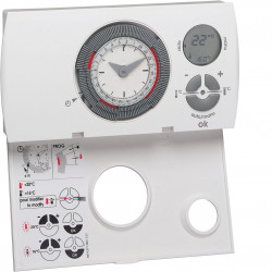Thermostat ambiance prog analog chauf eau chaude 2 fils sur 7j alim piles (56571) - HAGER
