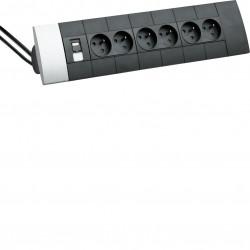 Boîtier design officea pré-équipé 5x2prises RJ45 Cat6 + 2m de câble avec fiches (DED101) - HAGER
