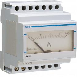 Ampéremètre analogique 0-100A branchement sur TI (SM100) - HAGER