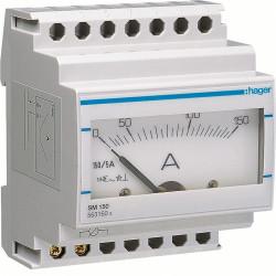 Ampéremètre analogique 0-150A branchement sur TI (SM150) - HAGER