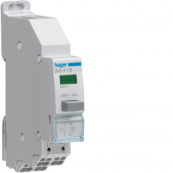 bouton poussoir 1F impulsion + Voyant vert 230VAC QC passage de barre (SVS411B) - HAGER
