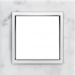 Kallysta épure plaque 3 postes verticale entraxe 71 marbre coloris Minera Alba (WK849) - HAGER