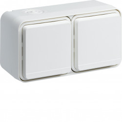 cubyko Prise double horizontale 2P+T saillie blanc IP55 (WNC122B) - HAGER