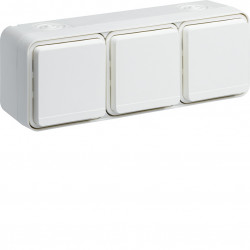 cubyko Prise triple horizontale 2P+T saillie blanc IP55 (WNC123B) - HAGER