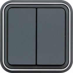 cubyko Double interrupteur va-et-vient  encastré gris IP55 (WNE040) - HAGER