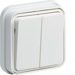 cubyko Double interrupteur va-et-vient  encastré blanc IP55 (WNE040B) - HAGER