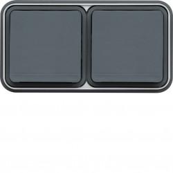 cubyko Prise double horizontale 2P+T encastré gris IP55 (WNE122) - HAGER