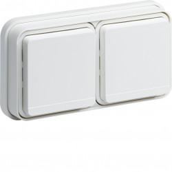 cubyko Prise double horizontale 2P+T encastré blanc IP55 (WNE122B) - HAGER
