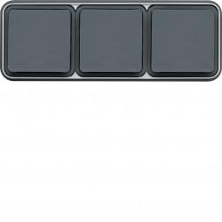 cubyko Prise triple horizontale 2P+T encastré gris IP55 (WNE123) - HAGER