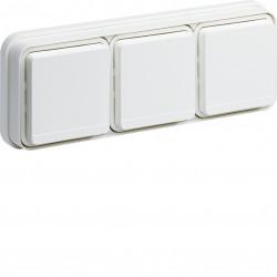 cubyko Prise triple horizontale 2P+T encastré blanc IP55 (WNE123B) - HAGER