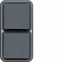 cubyko Prise double verticale 2P+T encastré gris IP55 (WNE132) - HAGER