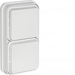 cubyko Prise double verticale 2P+T encastré blanc IP55 (WNE132B) - HAGER