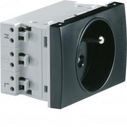 Systo prise de courant spécial goulotte 2P+T 16A 250V 2 modules Noir (WS121N) - HAGER