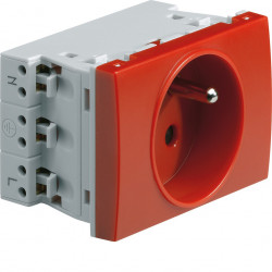 Systo prise de courant spécial goulotte 2P+T 16A 250V 2 modules Rouge (WS121R) - HAGER