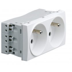 Systo prise de courant double spécial goulotte 2P+T 16A 250V 4 modules Blanc (WS122) - HAGER