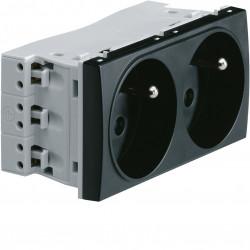 Systo prise de courant double spécial goulotte 2P+T 16A 250V 4 modules Noir (WS122N) - HAGER