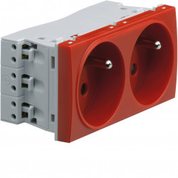Systo prise de courant double spécial goulotte 2P+T 16A 250V 4 modules Rouge (WS122R) - HAGER