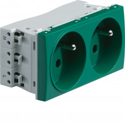 Systo prise de courant double spécial goulotte 2P+T 16A 250V 4 modules Vert (WS122V) - HAGER