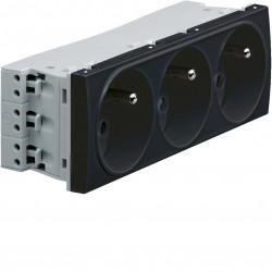 Systo prise de courant triple spécial goulotte 2P+T 16A 250V 6 modules Noir (WS123N) - HAGER