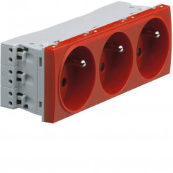 Systo prise de courant triple spécial goulotte 2P+T 16A 250V 6 modules Rouge (WS123R) - HAGER