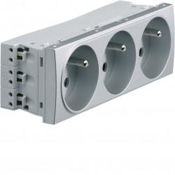 Systo prise de courant triple spécial goulotte 2P+T 16A 250V 6 modules Titane (WS123T) - HAGER