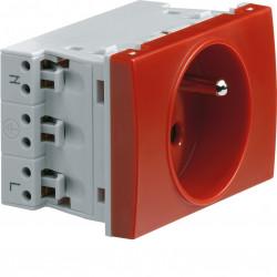 Systo prise de courant spécial goulotte 2P+T 16A 250V détrompée 2 modules Rouge (WS131) - HAGER