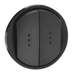 Enjoliveur pour double interrupteur va-et-vient ou poussoir à voyant, graphite (067904) -