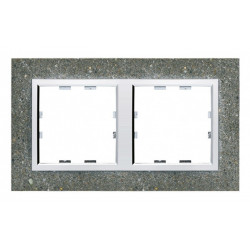 Kallysta épure plaque 2 postes horizontale entraxe 71 Béton (WK852) - HAGER