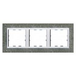 Kallysta épure plaque 3 postes horizontale entraxe 71 Béton (WK853) - HAGER