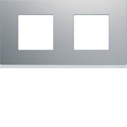 Plaque gallery plastique peint 2 postes horizontale 71mm titane (WXP0112) - HAGER