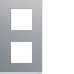 Plaque gallery plastique peint 2 postes verticale 71mm titane (WXP0142) - HAGER