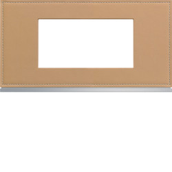 Plaque gallery 4 modules entraxe 71mm matiere cord leather (WXP5104) - HAGER
